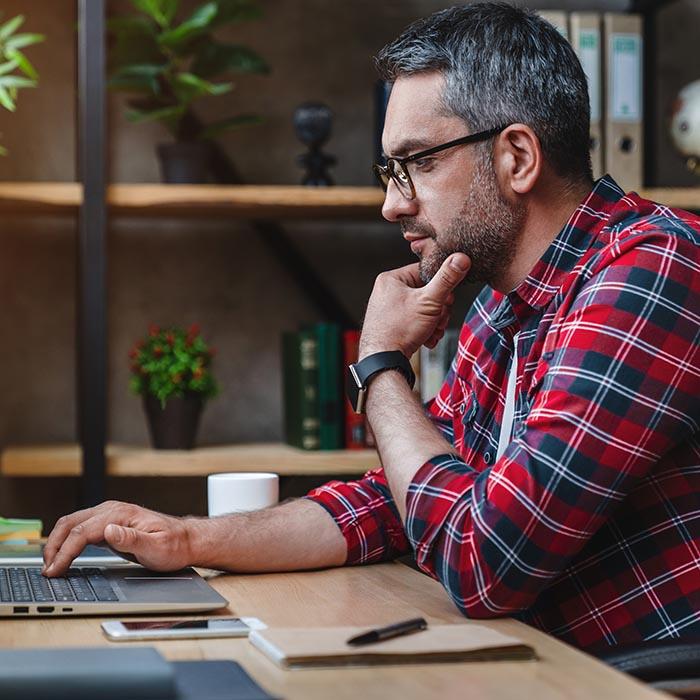 Man checking his computer